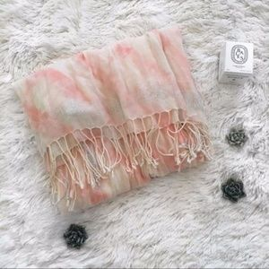 Aerie Pink & Cream Watercolor Metallic Scarf